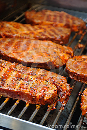Barbecue Steaks on Grill