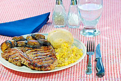 Barbecue T Bone steak dinner
