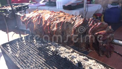 Barbecue View for Picnic, Frying Fresh Meat on Grill, Roast Lamb Closeup vídeos de arquivo