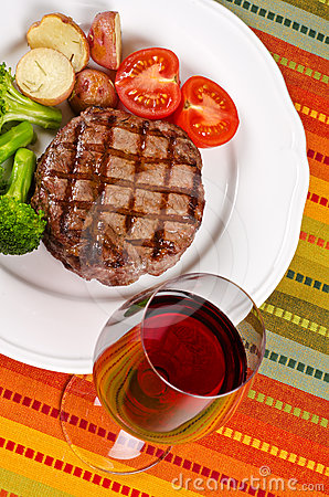 Barbecued Beef Steak and a Glass of Red Wine #1
