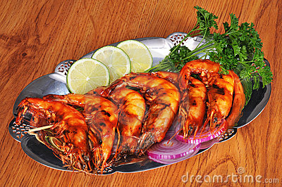 Barbecued shrimp on platter