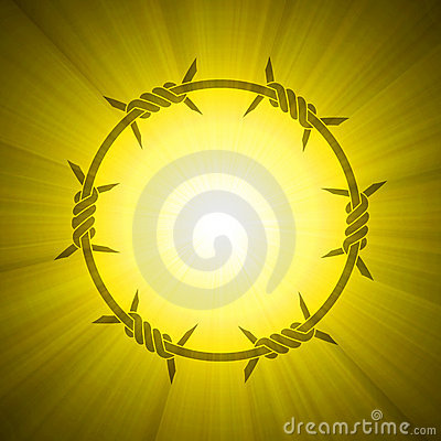 Barbed circle ring sun light flare