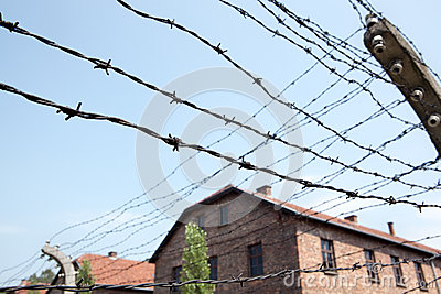 Barbed wire and barracks in Auschwitz camp Editorial Photo
