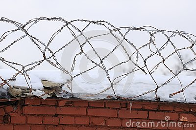 Barbed Wire on Brick Fence