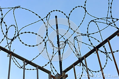 Barbed wire with fence