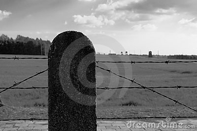 Barbed wire fence in concentration camp Editorial Stock Image