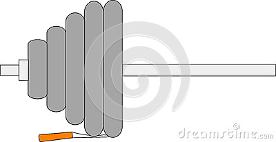 Barbell and cigarette