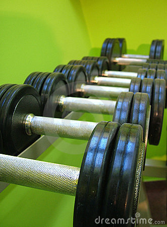 Barbells on rack