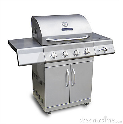 Barbeque gas grill, isolated
