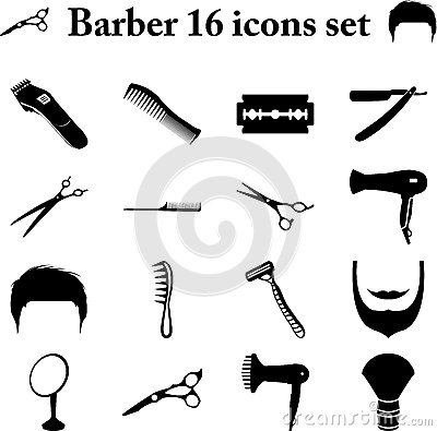 Free Barber 16 Simple Icons Set Stock Images - 65942394