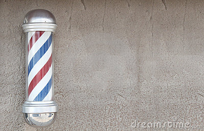 Barber Background : Barbers pole with wall space for background.