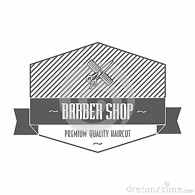 Free Barber Shop Emblem Or Label Depicting A Comb And Scissors With Text, One In A Shield And Ribbon Banner And Wreath, Vector Illustra Stock Images - 54037474
