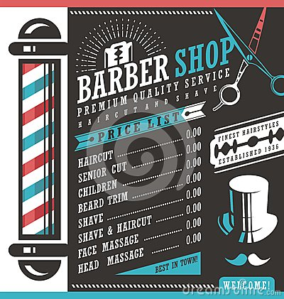 Free Barber Shop Price List Template Stock Image - 66739801