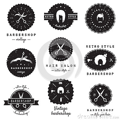 Free Barbershop (hair Salon) Logo-badges Vintage Vector Set. Hipster And Retro Style. Stock Photos - 53592493