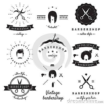 Barbershop (hair salon) logo vintage vector set. Hipster and retro style. Vector Illustration