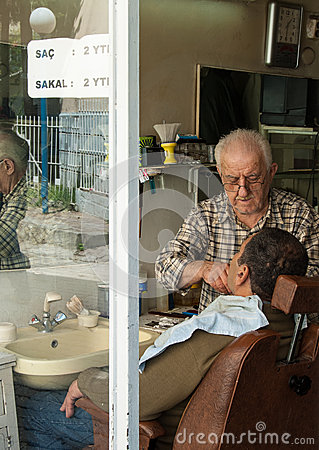 Barbershop in Izmir, Turkey Editorial Stock Photo