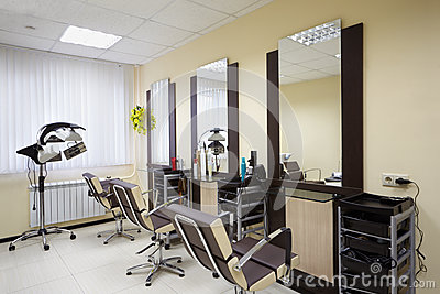 Barbershop room with three working places