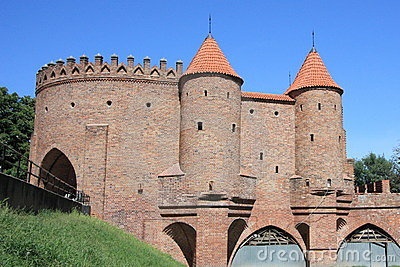 Barbican city wall, historic landmark in Warsaw