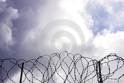 Barbwire on sky background.