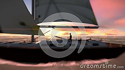 Barca a vela sul video dell'oceano stock footage