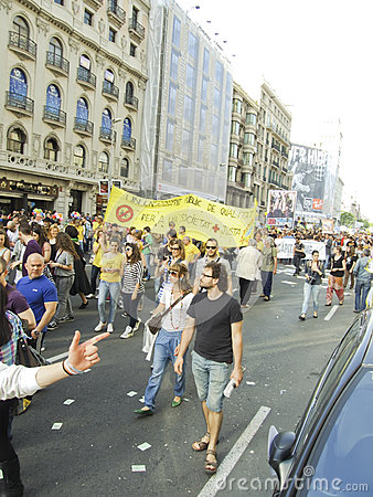 Barcelona 15M protests - Education spending cuts Editorial Photo