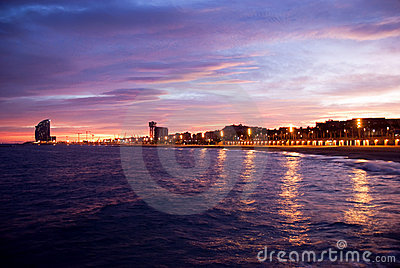 Barcelona beach at the sunset