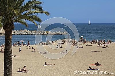 Barcelona Beaches - Spain Editorial Stock Photo