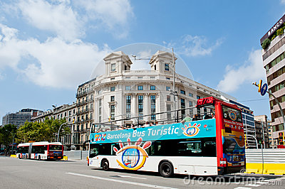 Barcelona Bus Editorial Stock Photo