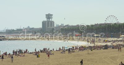 BARCELONA, SPAIN, MAY 22, 2017: Beach And Boardwalk In ...