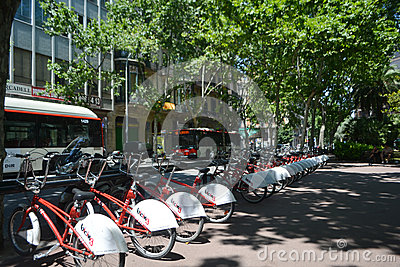 Barcelona city bikes Editorial Stock Image