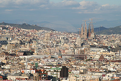 Barcelona city and sagrada familia overview roofs