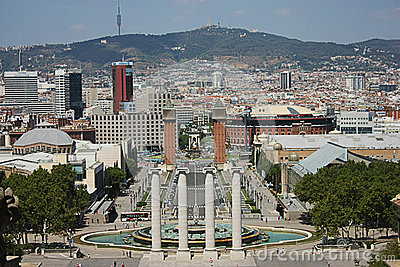 Barcelona city view from National Palace Editorial Stock Photo