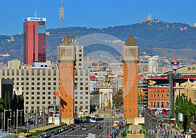 Barcelona cityscape. The Spanish square Editorial Image