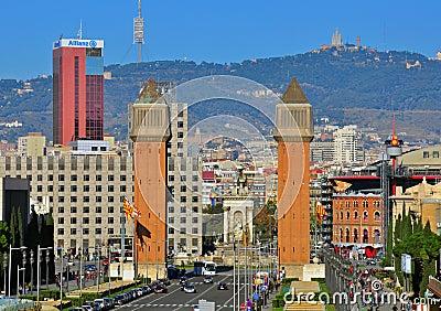 Barcelona cityscape. The Spanish square Editorial Image