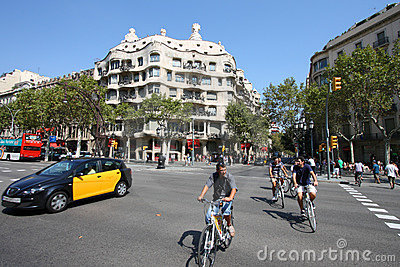 Barcelona cyclists Editorial Stock Image