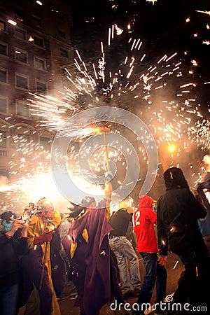 Barcelona Fire-run party Editorial Stock Photo