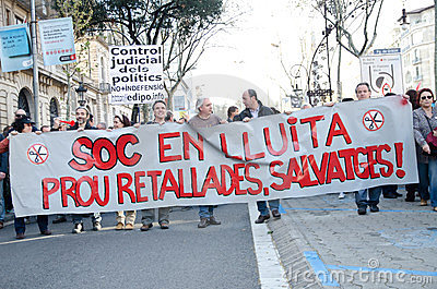 Barcelona - General strike Editorial Image