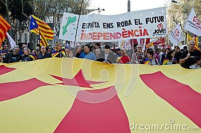 Barcelona - General strike Editorial Photo