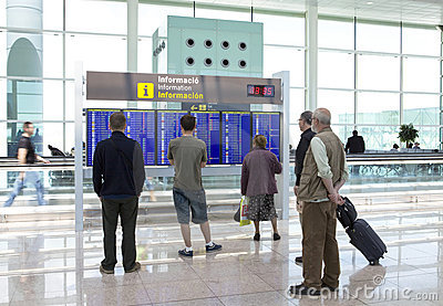 BARCELONA- MAY 9: People wait for flight on May 9, Editorial Stock Image