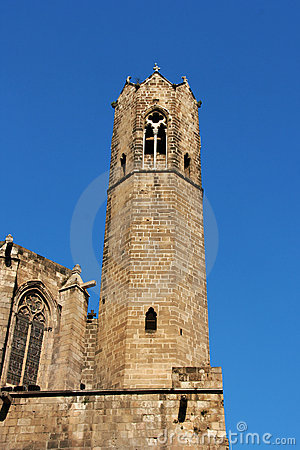 Barcelona: medieval Tower of Santa Agata Chapel