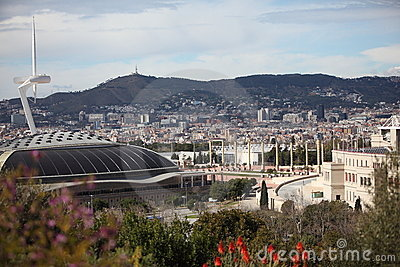 Barcelona Olympic Arena,Tower and Stadium Editorial Stock Image