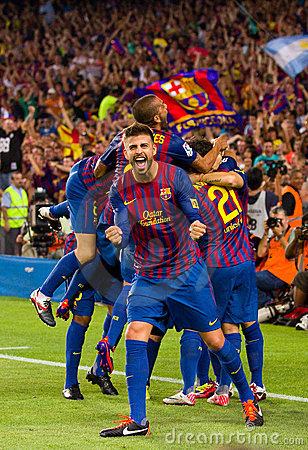 Barcelona players celebrating a goal Editorial Stock Image