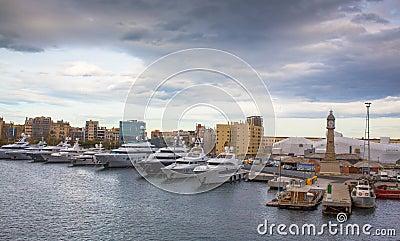 Barcelona port luxury vessels anchored