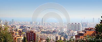 Barcelona skyline with Mediterranean sea view