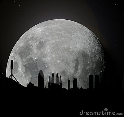 Barcelona skyline at moonlight