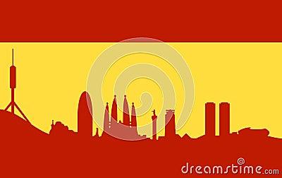 Barcelona skyline on spanish flag