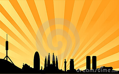 Barcelona skyline vector background