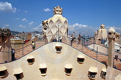 Barcelona, Spain: Gaudi s La Pedrera Editorial Stock Photo