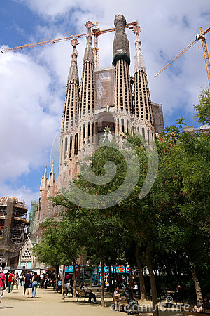 Barcelona, Spain - May 17, 2014: The Sagrada Familia, Antoni Gaudis Unfi...