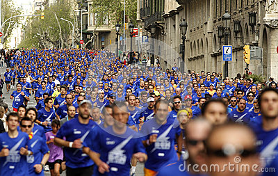 Barcelona street crowded of athletes running Editorial Photography